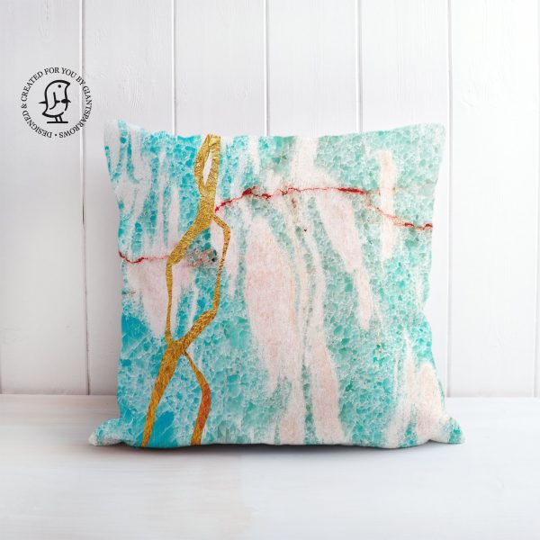 Japanese Art of Kintsugi - Turquoise Marble with Gold Detail Design Cushion