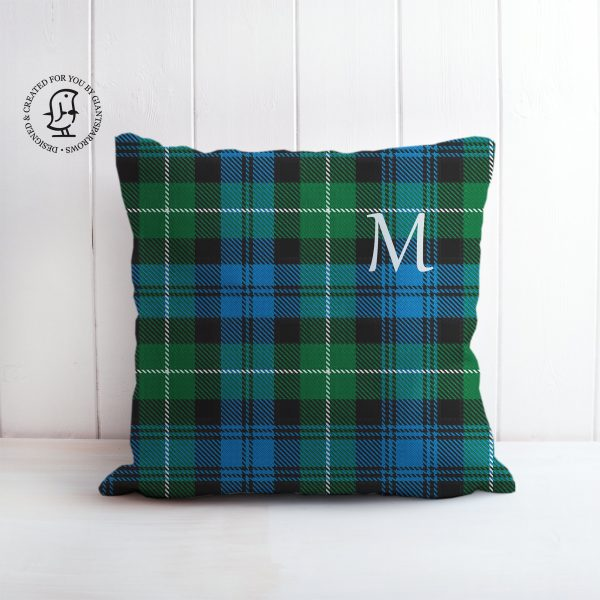 Tartan Cushion that can be Personalised with a Monogram Letter. Lamont Clan