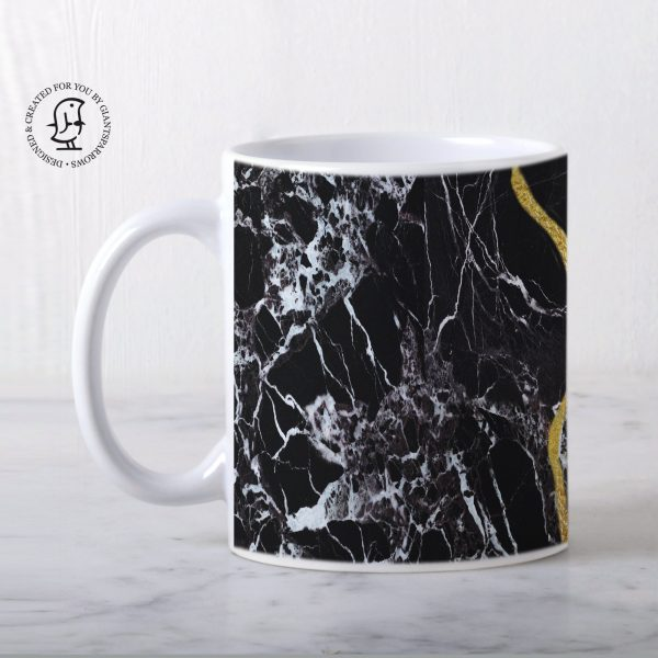 Art of Kintsugi Marble Black Design Mug