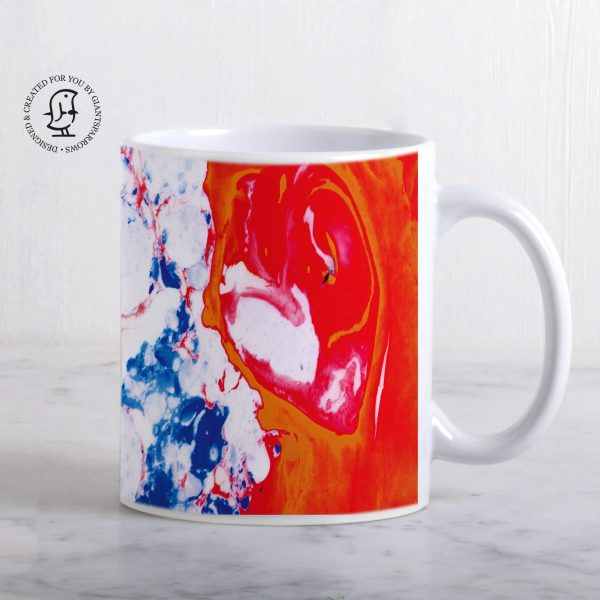 Blue, White and Red Marbled Design Mug