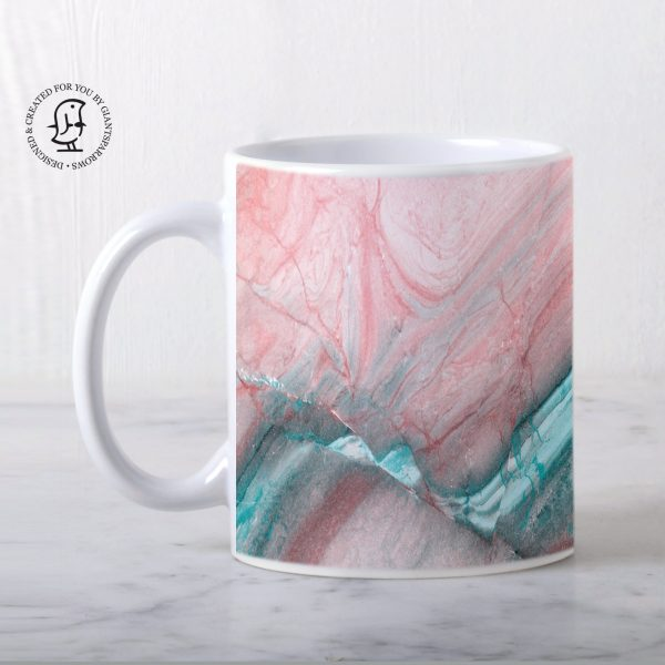 Rose Pink and Mint Green Marble Design Mug