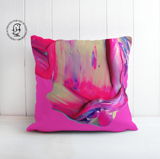 Lush and Rich Mix of Bright Pink and Purple Paints Design Cushion