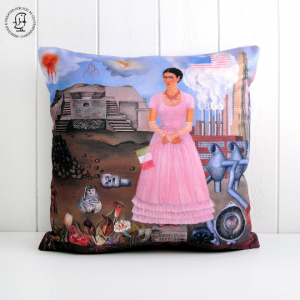 "Frida Kahlo Cushion ""Self Portrait on the Border between Mexico and the United States of America"""