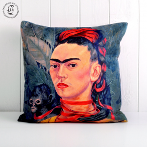 "Frida Kahlo Cushion ""Self Portrait with Monkey"" 1940"