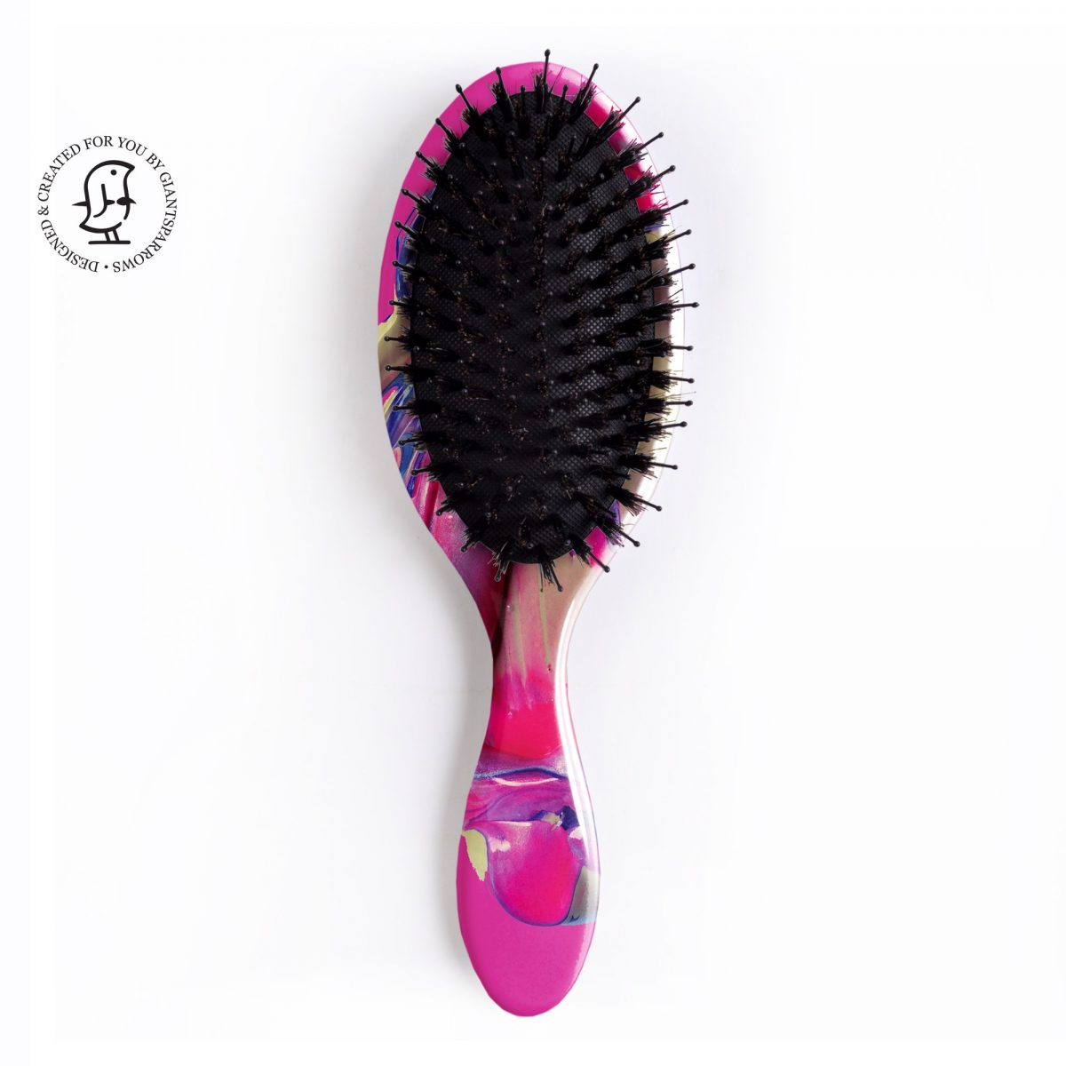Personalised Hair Brush Hot Pink Paint Swirl - Colour POP