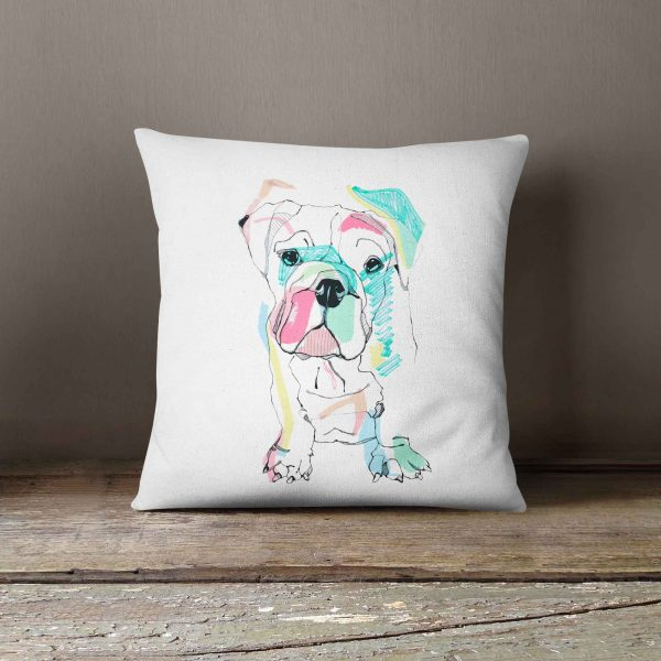 "Casey Rogers Illustration Cushion - ""Bulldog"""