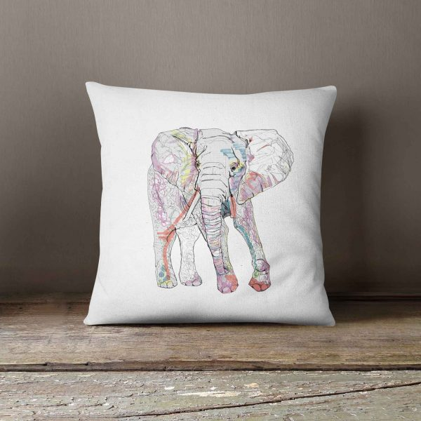 "Casey Rogers Illustration Cushion - ""Elephant"""