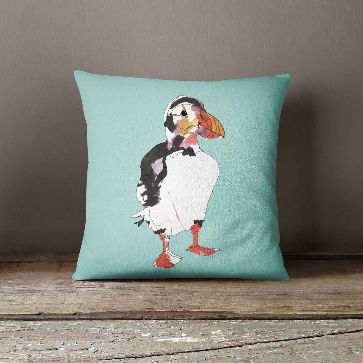 """Casey Rogers Illustration Cushion - """"Puffin1"""""""