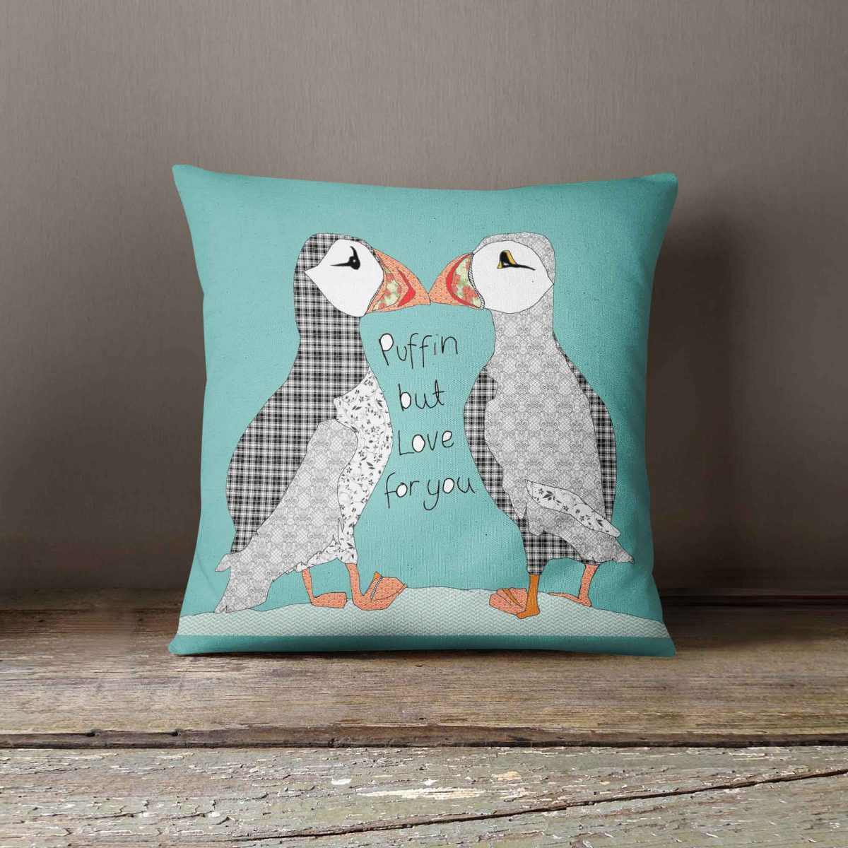 """Casey Rogers Illustration Cushion - """"Puffins"""""""