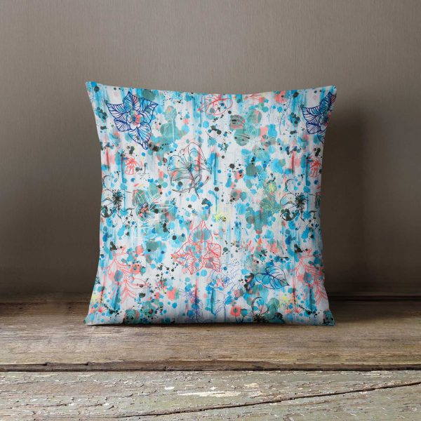 Ninola Design Watercolour Blue Graffiti Flowers Cushion