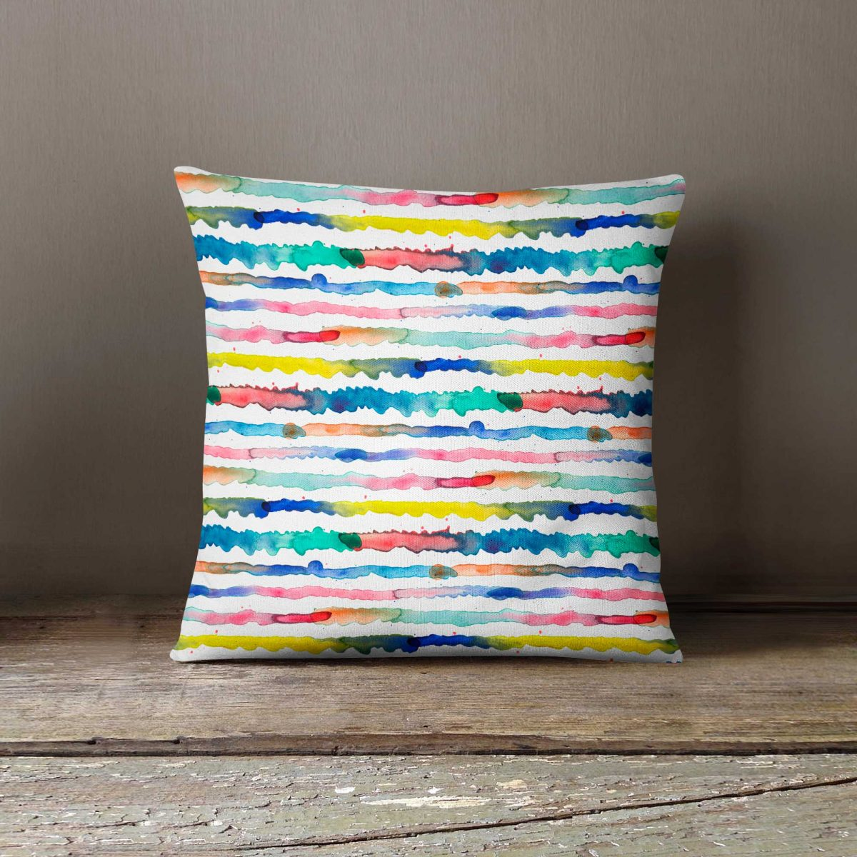 Ninola Design Abstract Watercolour Gradient Lines Cushion
