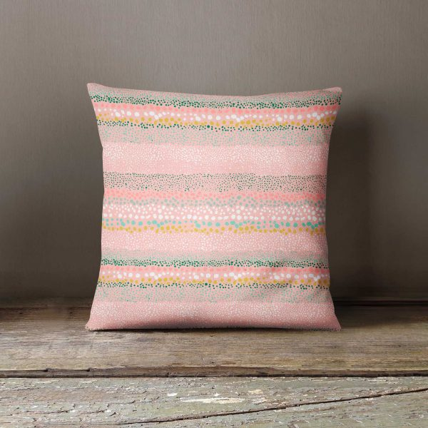 Ninola Design Watercolour Pink Cushion Textured Dots Cushion