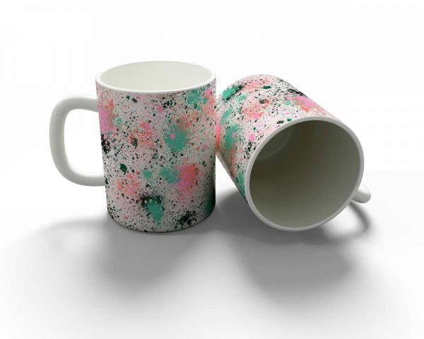 Ink Splatter Coral Green Mug