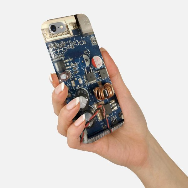 Circuit Board Phone Case - Close up Blue