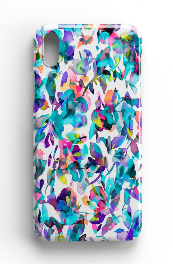 Ninola Design Aquatic Abstract Flowers Blue Phone Case