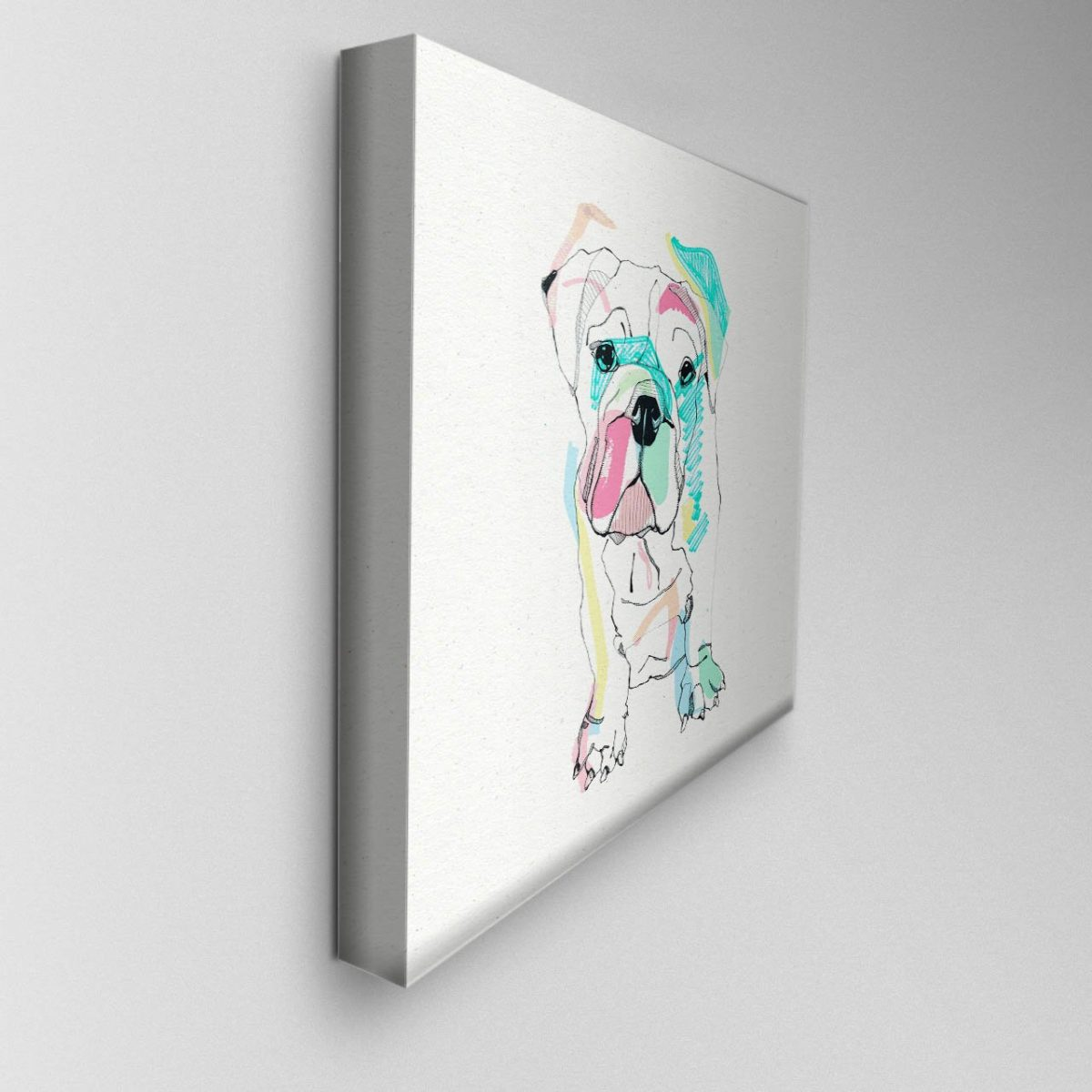 Illustrated Bulldog Canvas Picture