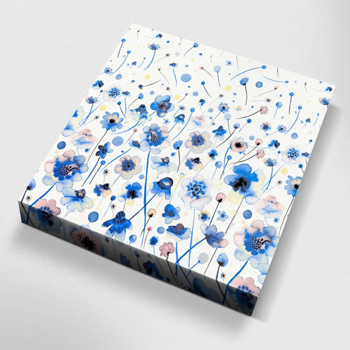 Ink Flowers Degraded Canvas Picture