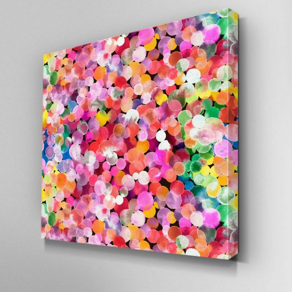 Pink Watercolour Dots Canvas Picture
