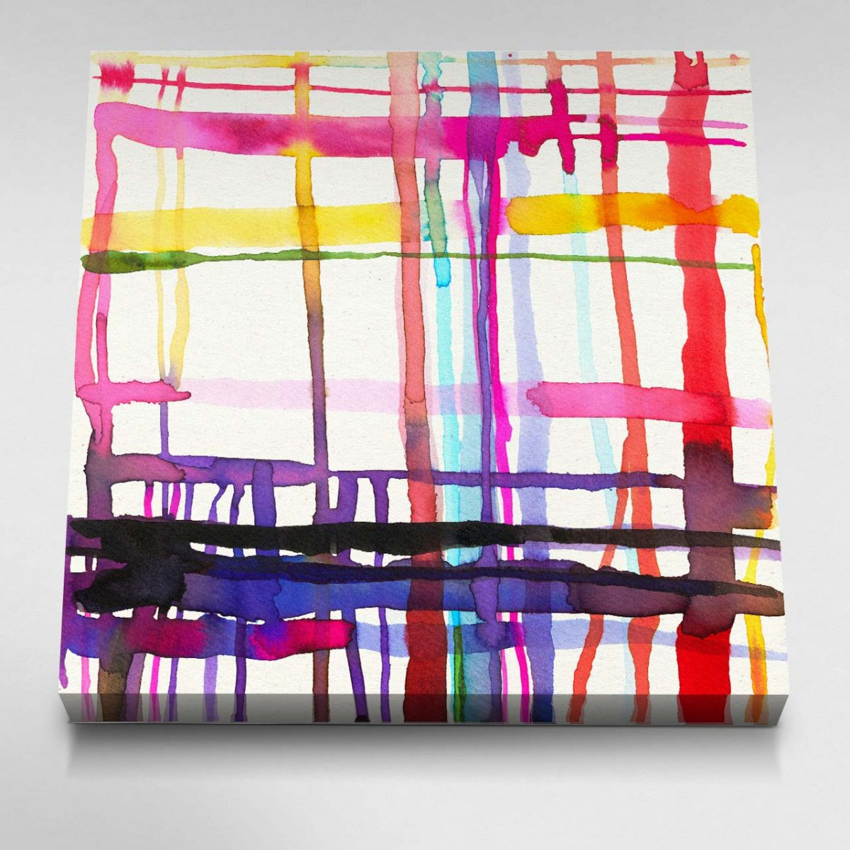 Watercolour Geometric Lines Canvas Picture