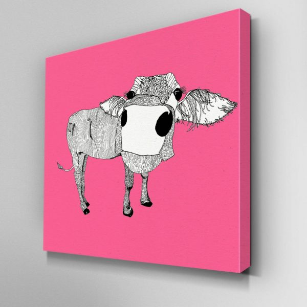 Illustrated Cowface Canvas Picture