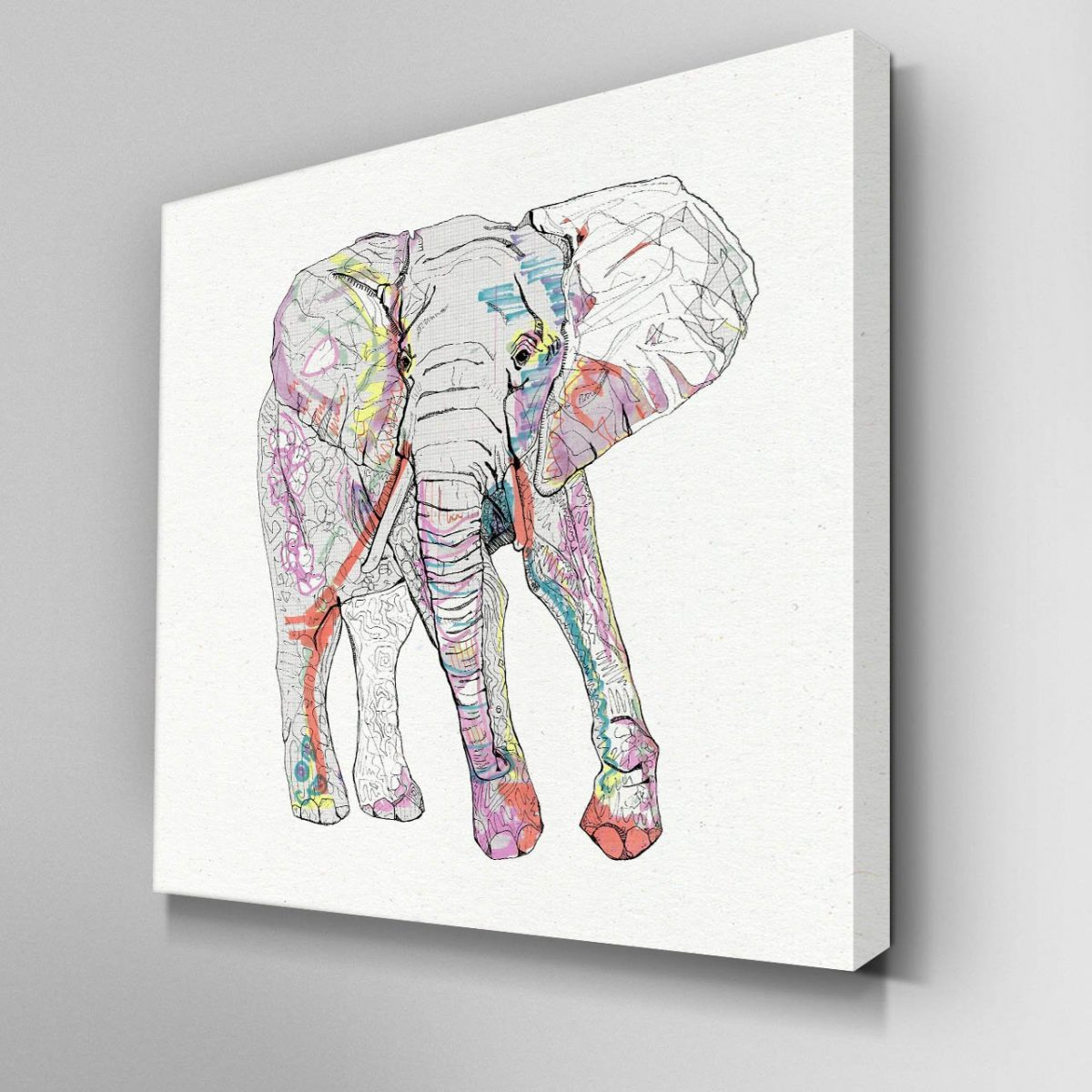 Illustrated Elephant Canvas Picture