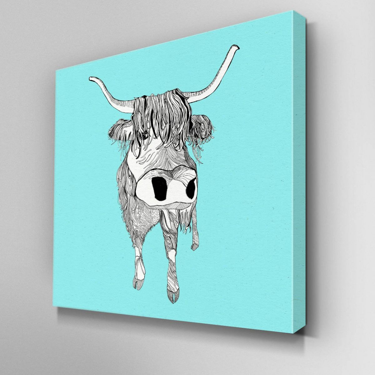 Illustrated Highland Cattle Canvas Picture