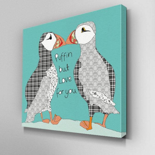 Puffin Love Canvas Picture