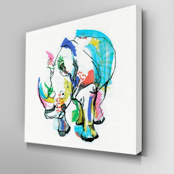 Illustrated Rhino Canvas Picture